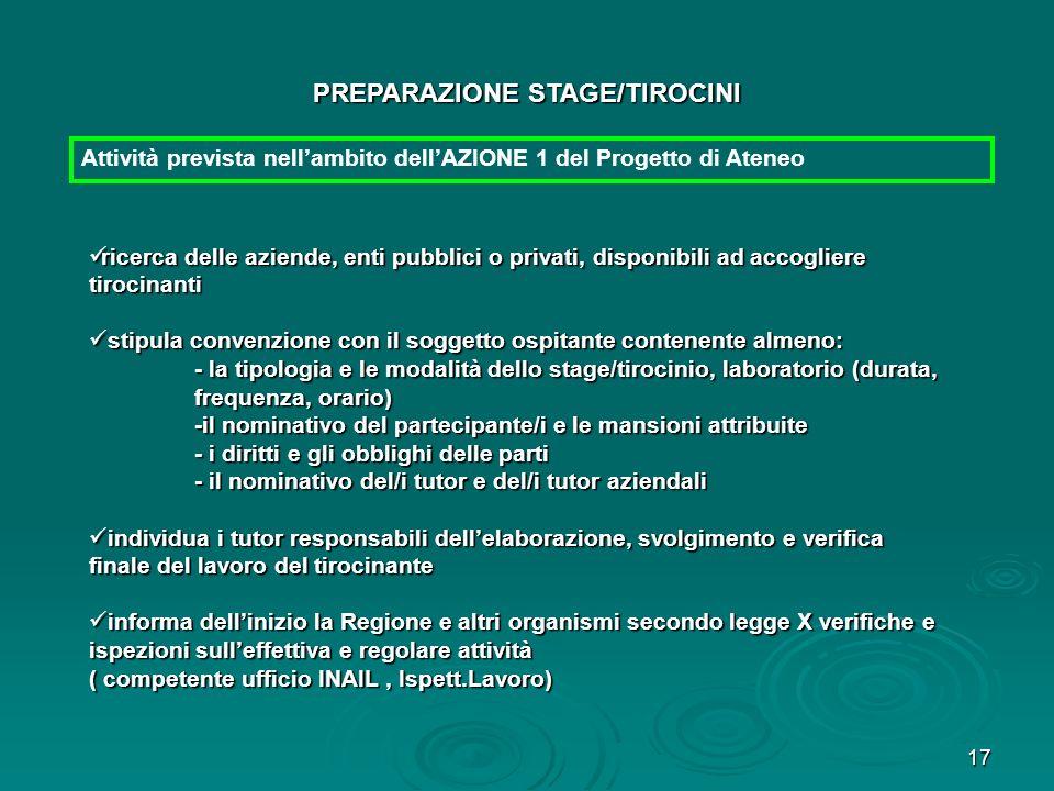 PREPARAZIONE STAGE/TIROCINI