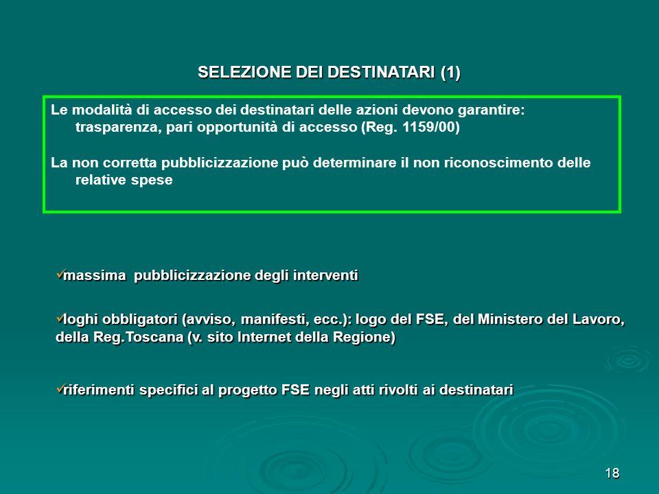 SELEZIONE DEI DESTINATARI (1)