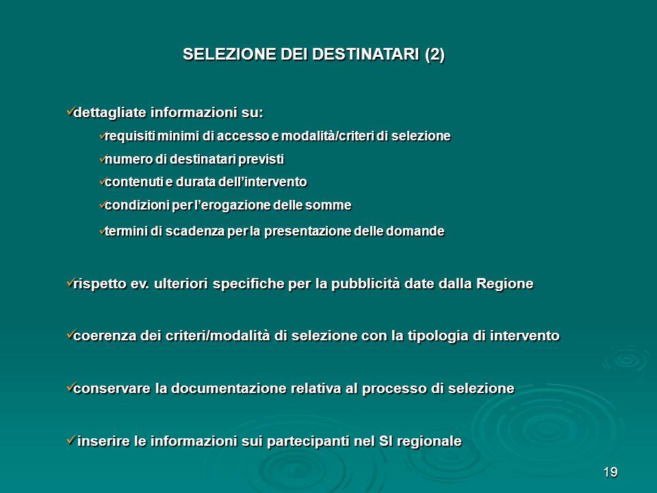 SELEZIONE DEI DESTINATARI (2)
