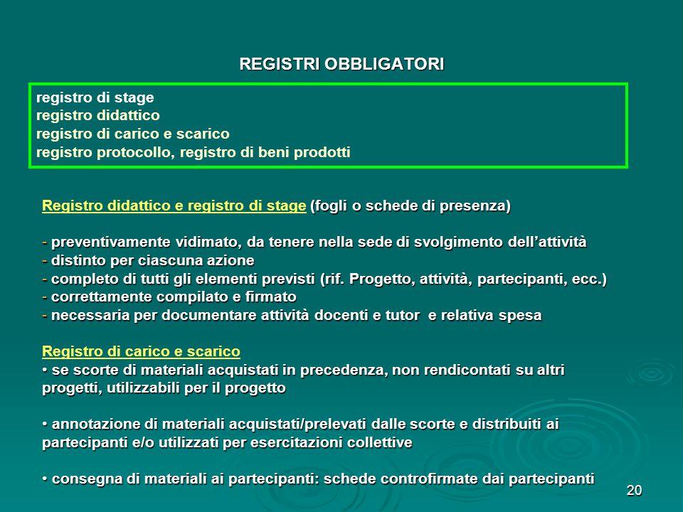 REGISTRI OBBLIGATORI registro di stage registro didattico