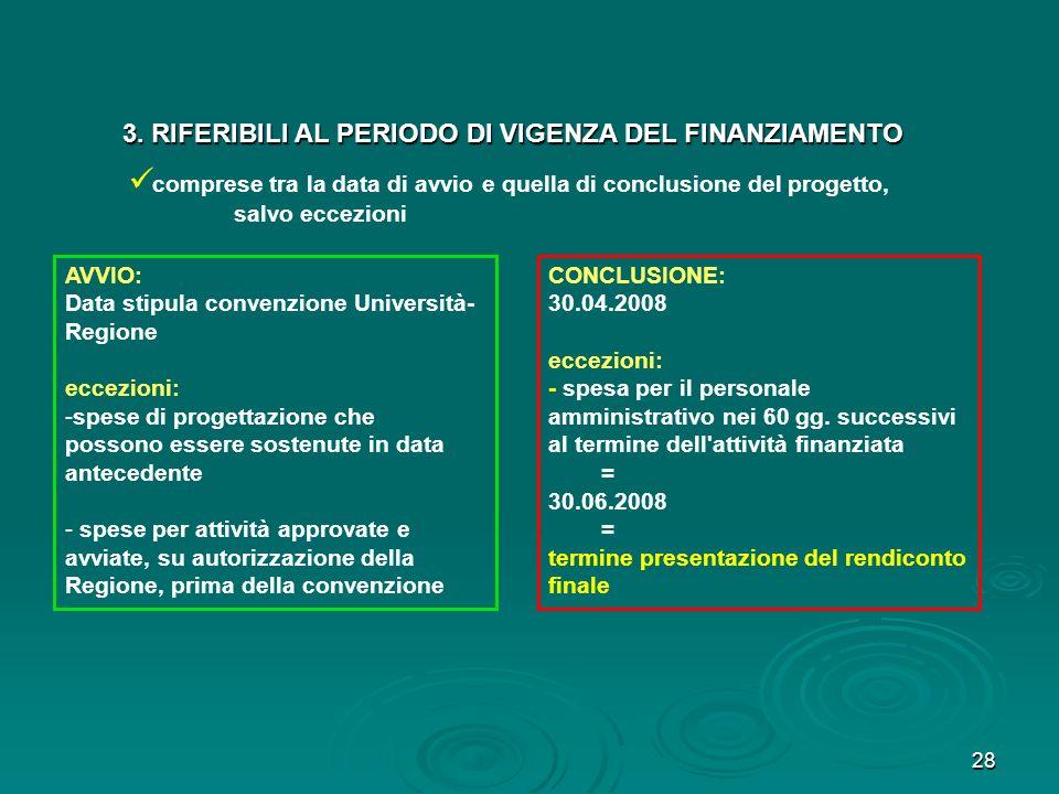 3. RIFERIBILI AL PERIODO DI VIGENZA DEL FINANZIAMENTO