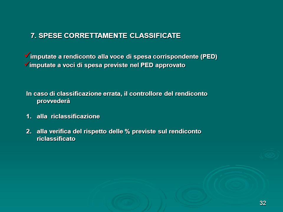 7. SPESE CORRETTAMENTE CLASSIFICATE
