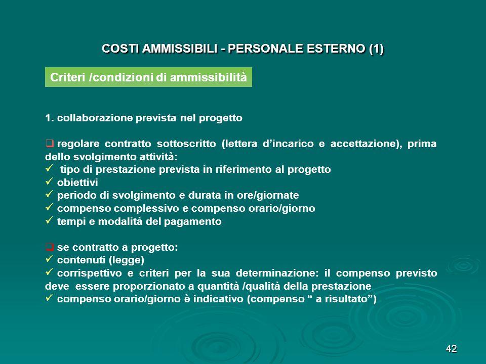 COSTI AMMISSIBILI - PERSONALE ESTERNO (1)
