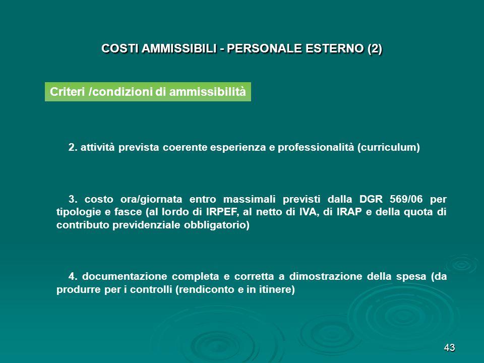 COSTI AMMISSIBILI - PERSONALE ESTERNO (2)