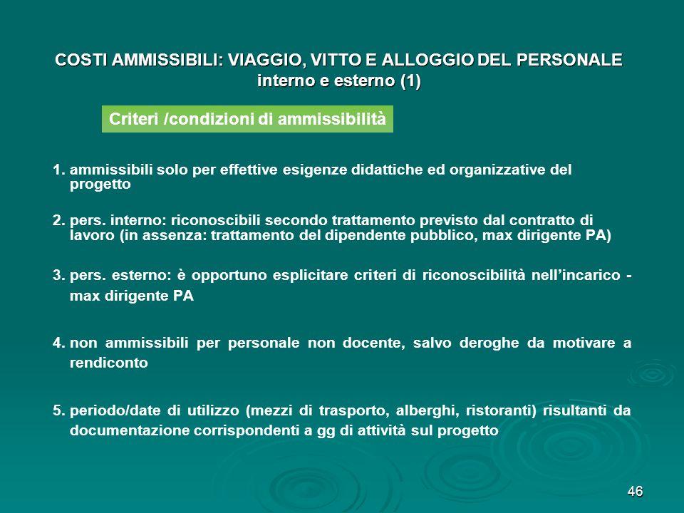 Criteri /condizioni di ammissibilità