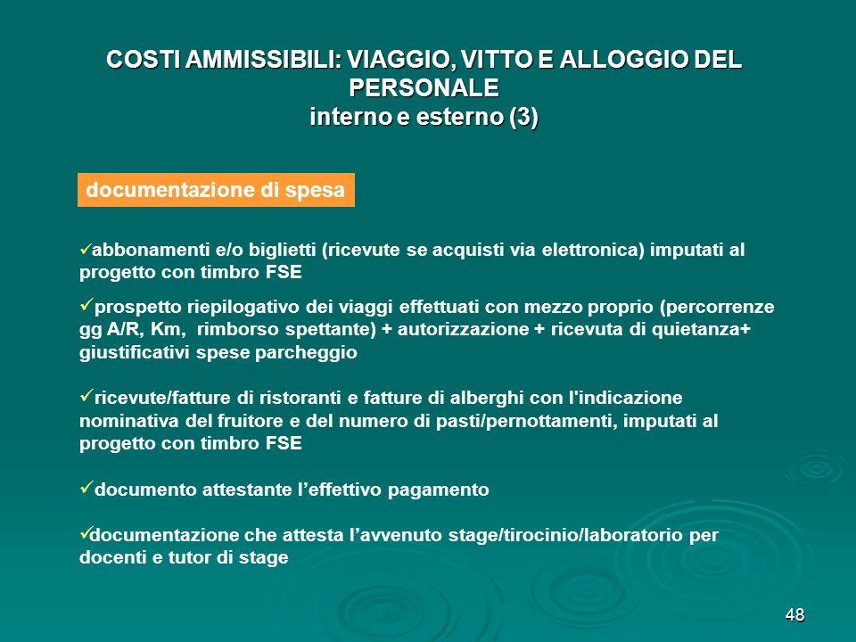 COSTI AMMISSIBILI: VIAGGIO, VITTO E ALLOGGIO DEL PERSONALE interno e esterno (3)