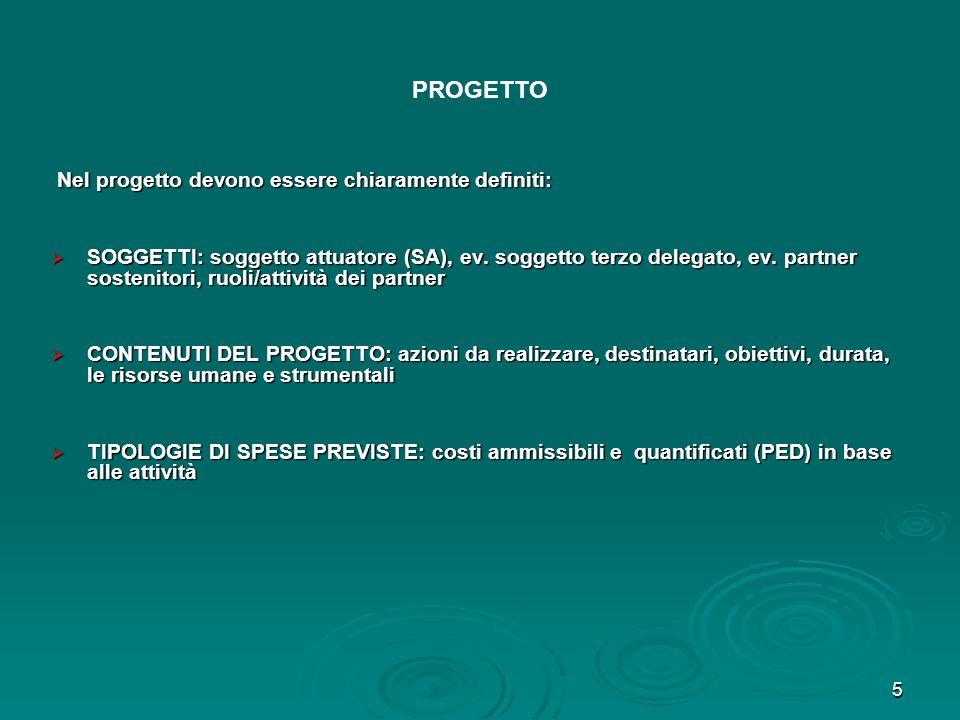 PROGETTO Nel progetto devono essere chiaramente definiti:
