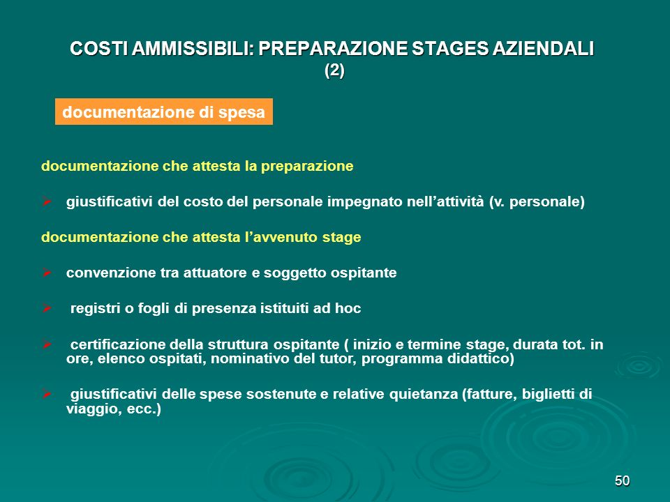 COSTI AMMISSIBILI: PREPARAZIONE STAGES AZIENDALI (2)