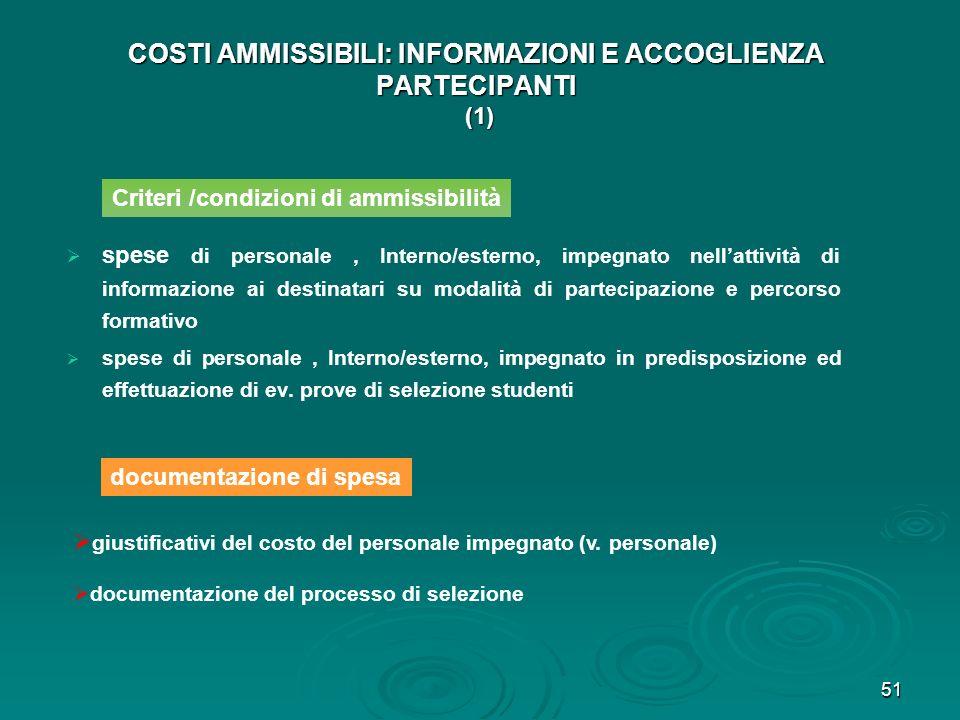 COSTI AMMISSIBILI: INFORMAZIONI E ACCOGLIENZA PARTECIPANTI (1)