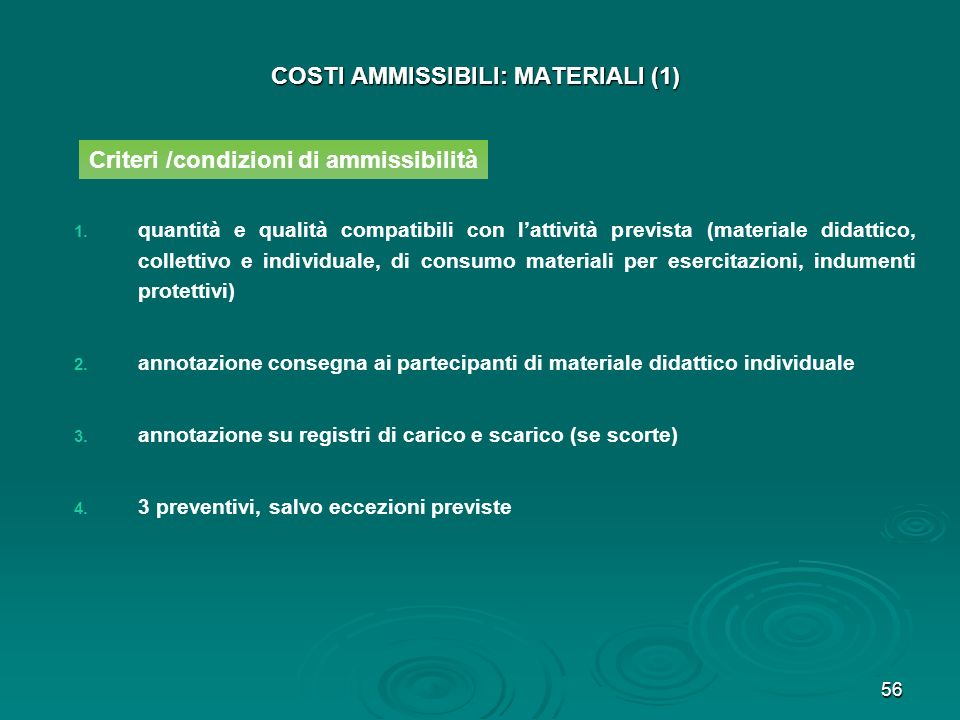 COSTI AMMISSIBILI: MATERIALI (1)