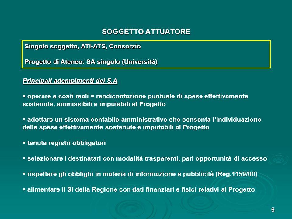 SOGGETTO ATTUATORE Singolo soggetto, ATI-ATS, Consorzio