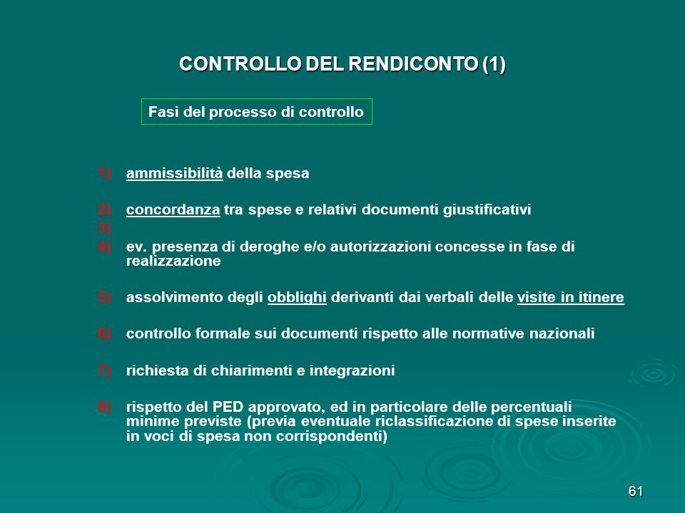 CONTROLLO DEL RENDICONTO (1)