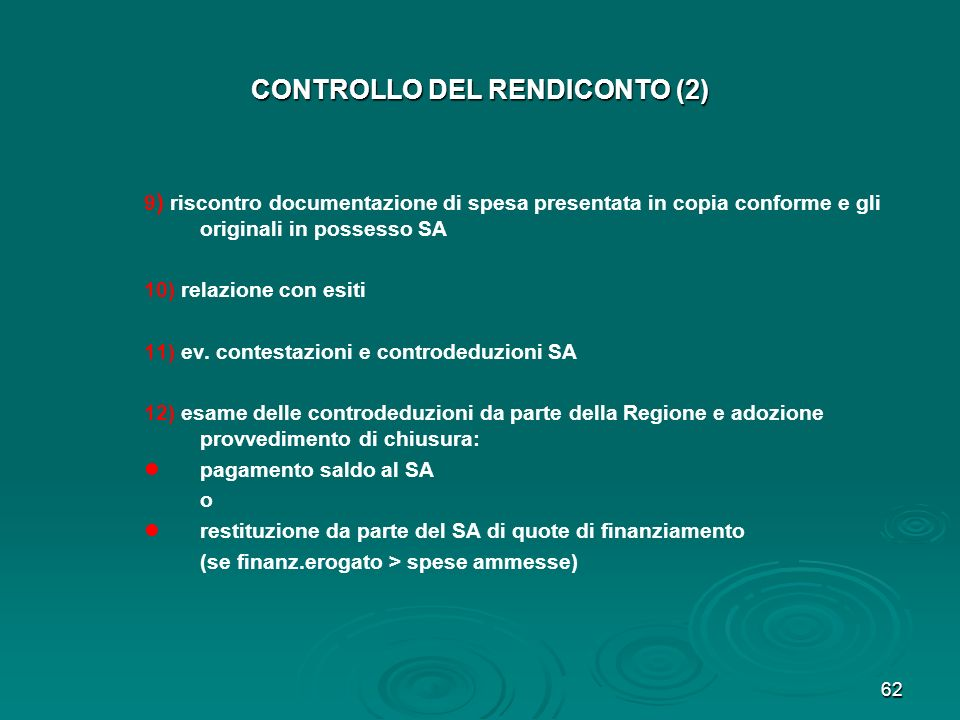 CONTROLLO DEL RENDICONTO (2)