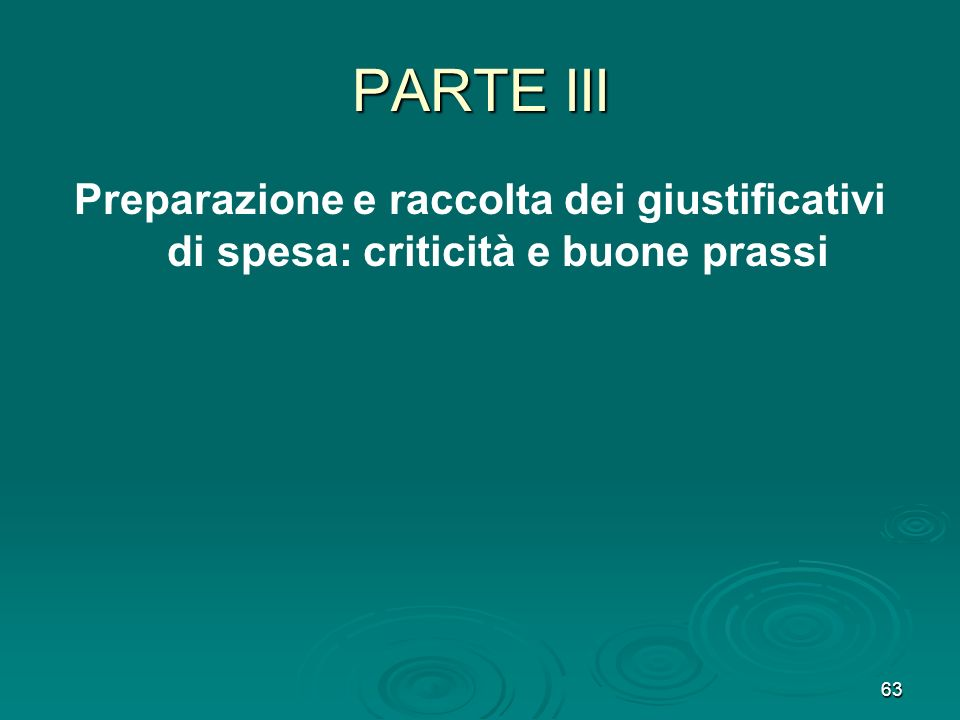 PARTE III Preparazione e raccolta dei giustificativi di spesa: criticità e buone prassi