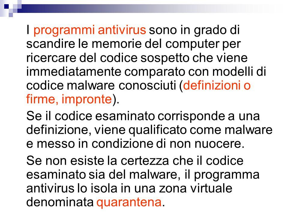 I programmi antivirus sono in grado di scandire le memorie del computer per ricercare del codice sospetto che viene immediatamente comparato con modelli di codice malware conosciuti (definizioni o firme, impronte).