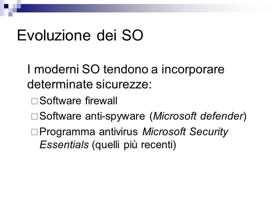 Evoluzione dei SO I moderni SO tendono a incorporare determinate sicurezze: Software firewall. Software anti-spyware (Microsoft defender)