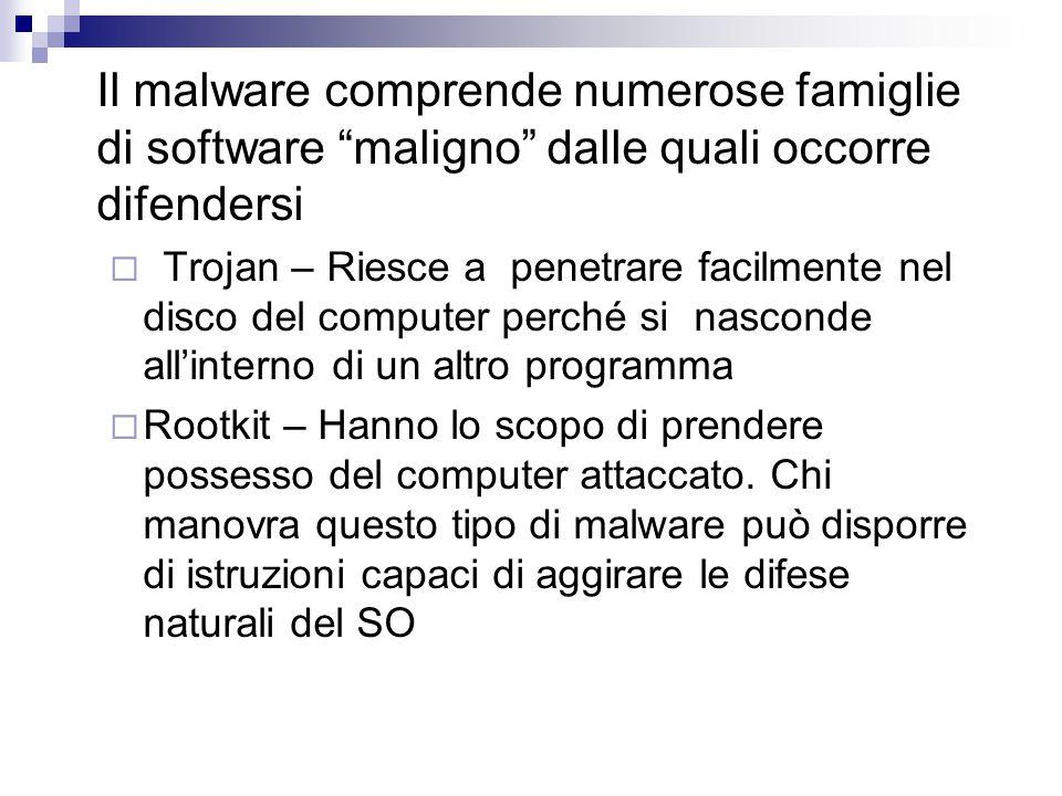 Il malware comprende numerose famiglie di software maligno dalle quali occorre difendersi