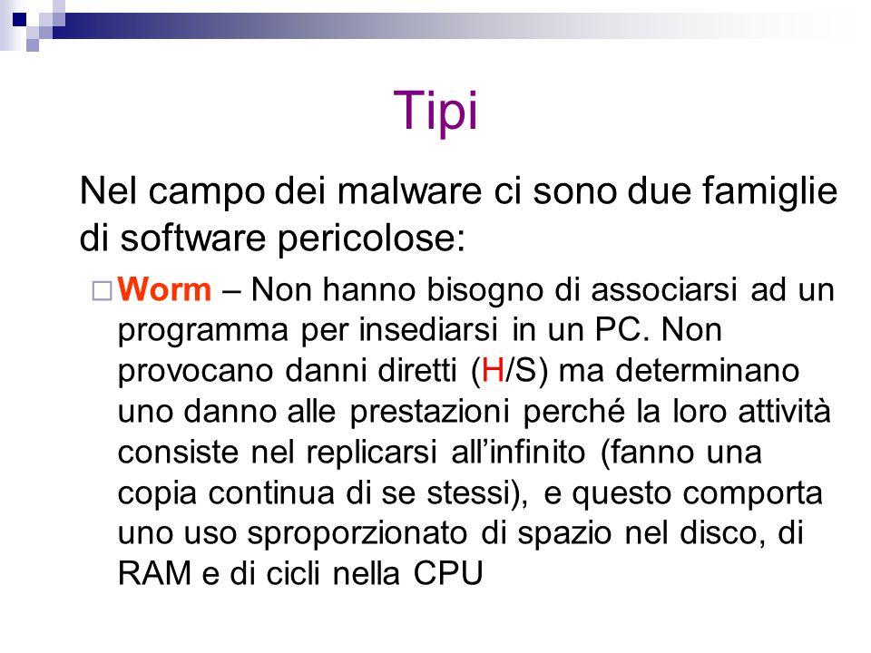 Tipi Nel campo dei malware ci sono due famiglie di software pericolose: