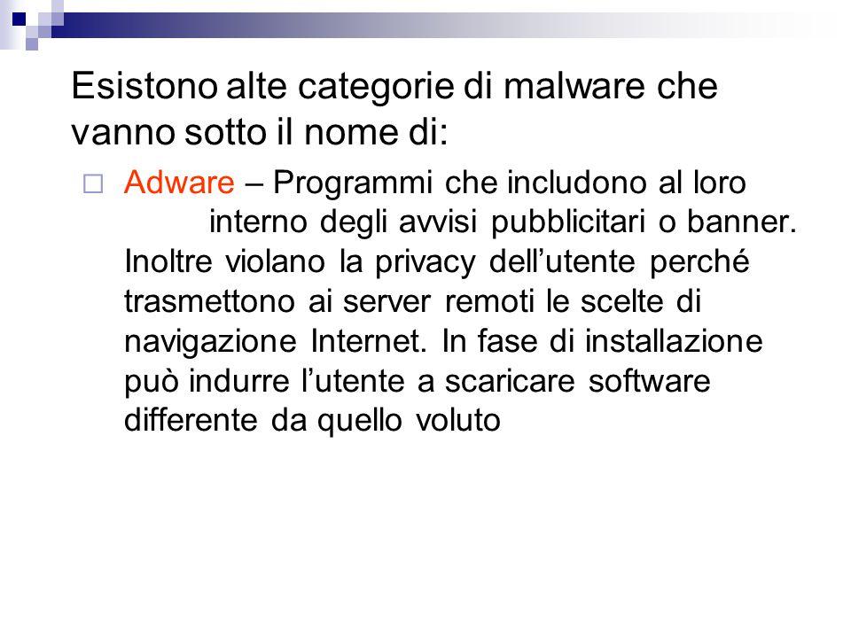 Esistono alte categorie di malware che vanno sotto il nome di: