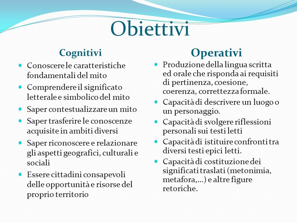 Obiettivi Operativi Cognitivi