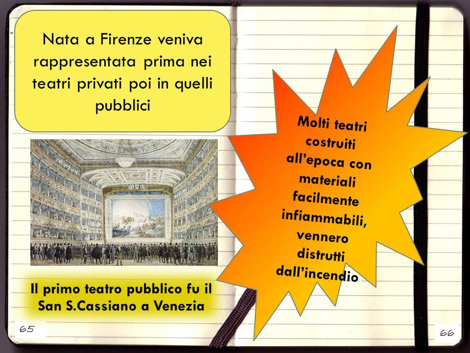 Il primo teatro pubblico fu il San S.Cassiano a Venezia