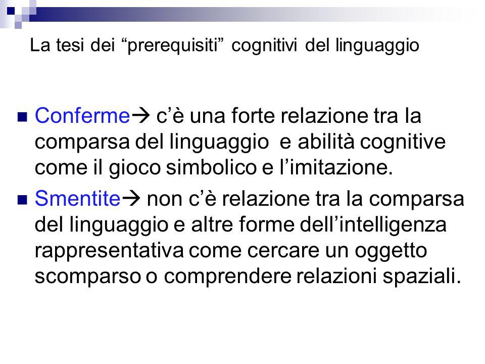 La tesi dei prerequisiti cognitivi del linguaggio
