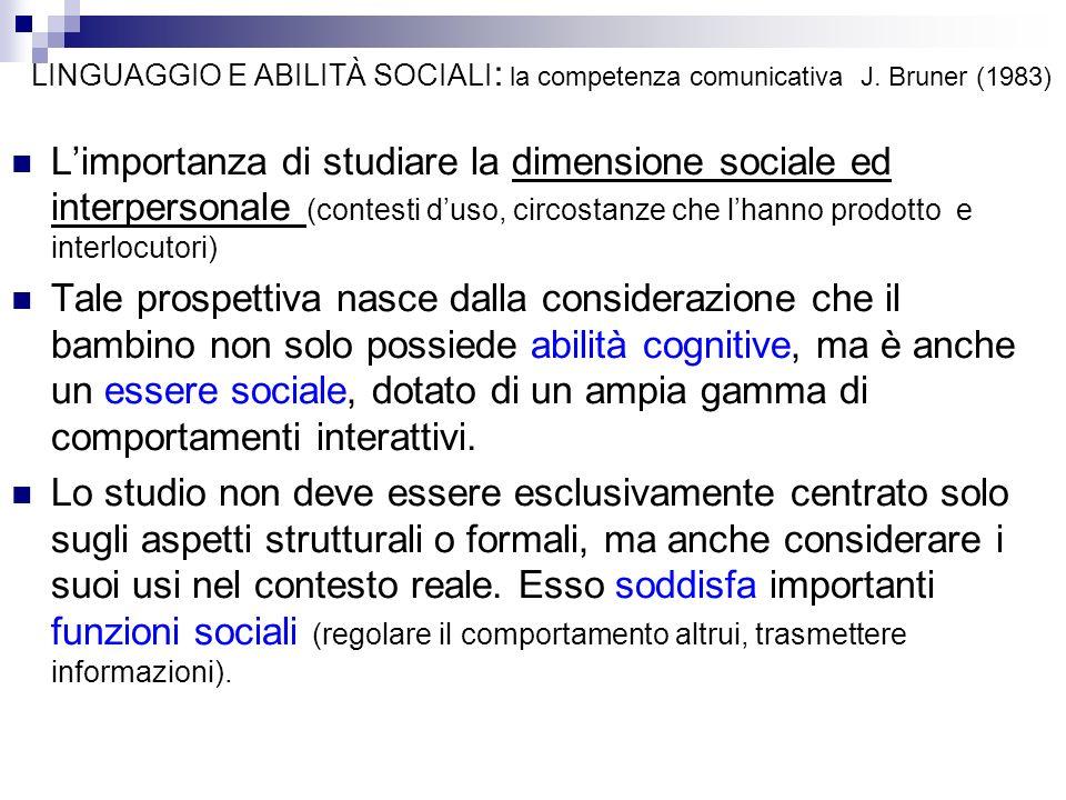 LINGUAGGIO E ABILITÀ SOCIALI: la competenza comunicativa J