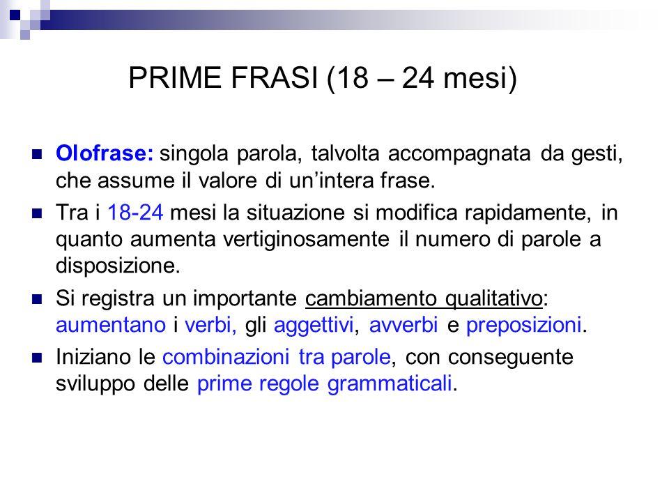 PRIME FRASI (18 – 24 mesi) Olofrase: singola parola, talvolta accompagnata da gesti, che assume il valore di un'intera frase.