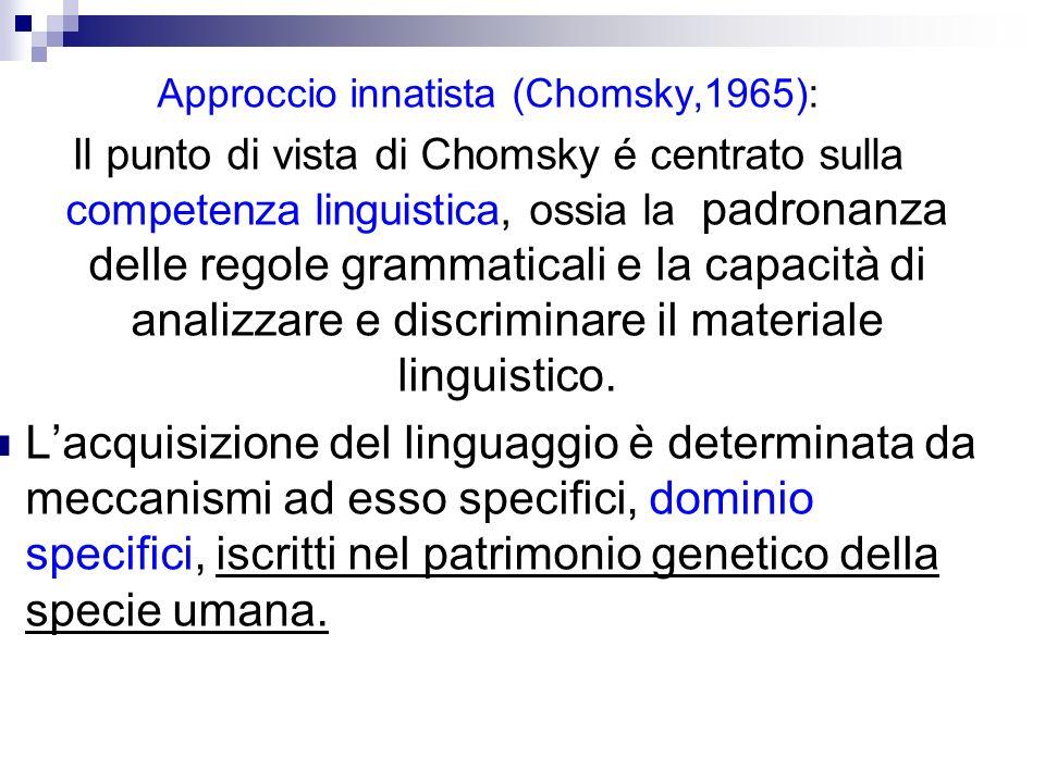 Approccio innatista (Chomsky,1965):