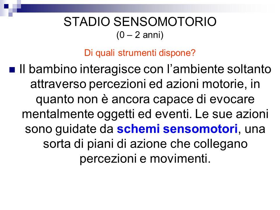 STADIO SENSOMOTORIO (0 – 2 anni)