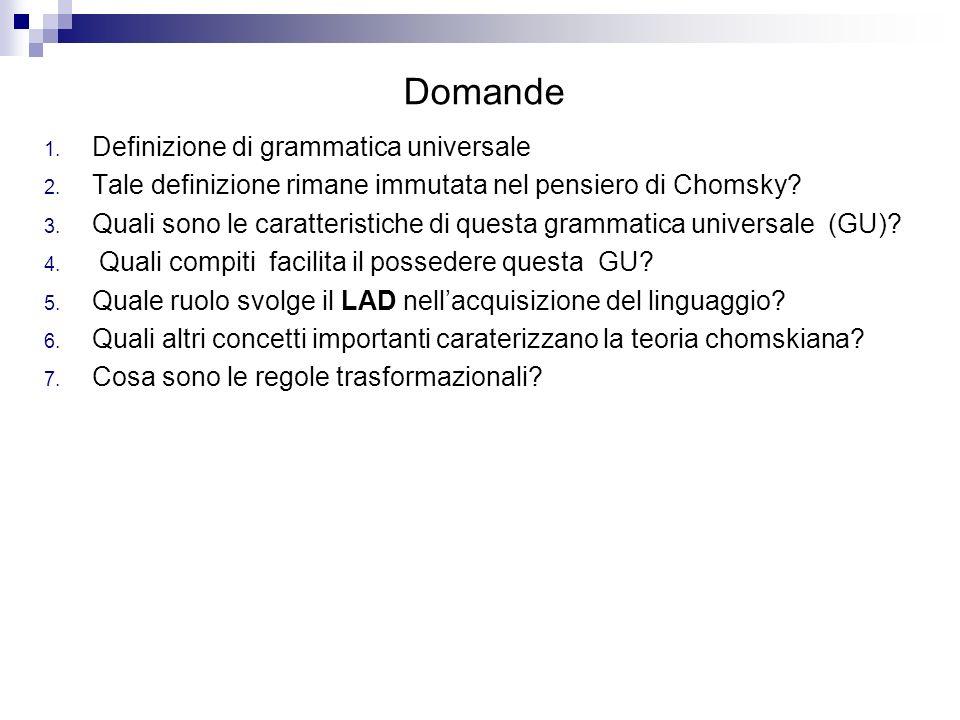 Domande Definizione di grammatica universale