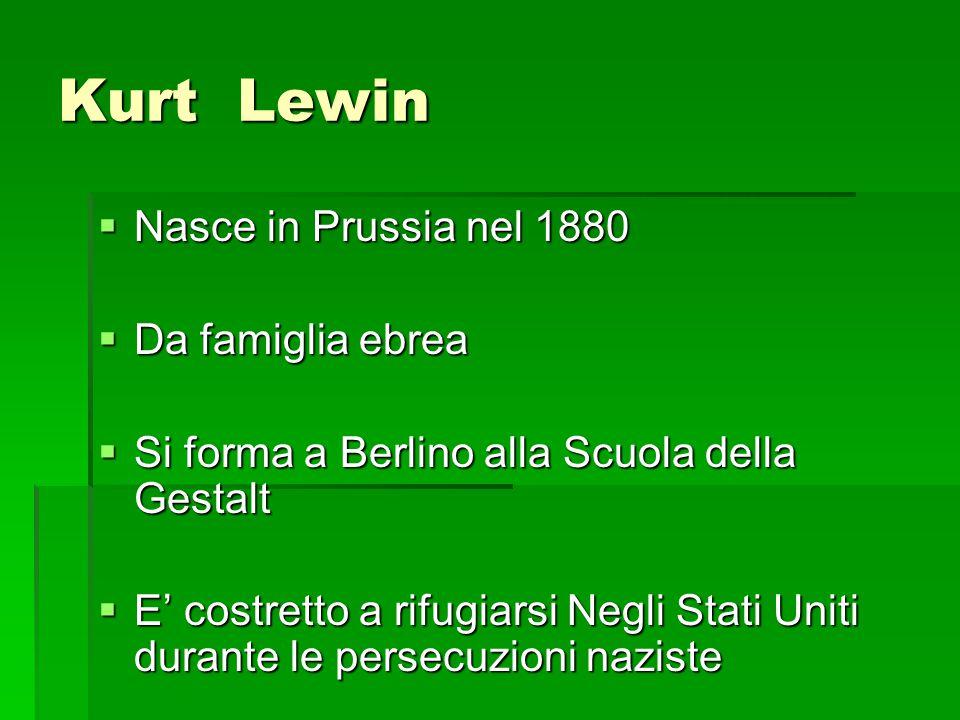 Kurt Lewin Nasce in Prussia nel 1880 Da famiglia ebrea