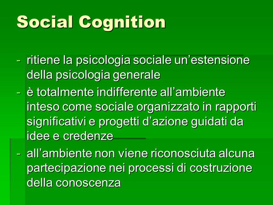 Social Cognition ritiene la psicologia sociale un'estensione della psicologia generale.