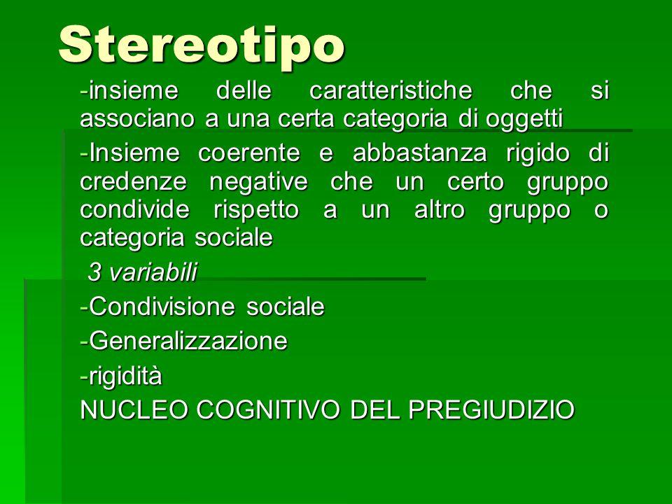 Stereotipo insieme delle caratteristiche che si associano a una certa categoria di oggetti.