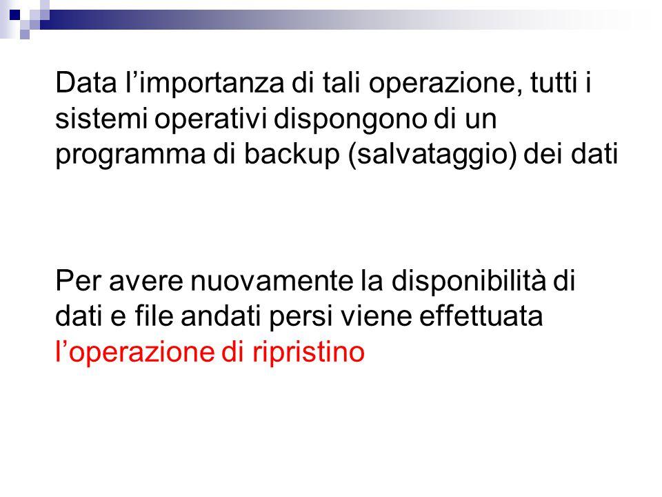 Data l'importanza di tali operazione, tutti i sistemi operativi dispongono di un programma di backup (salvataggio) dei dati