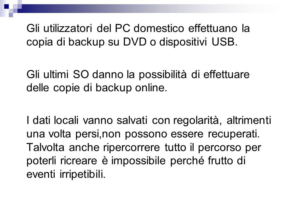 Gli utilizzatori del PC domestico effettuano la copia di backup su DVD o dispositivi USB.