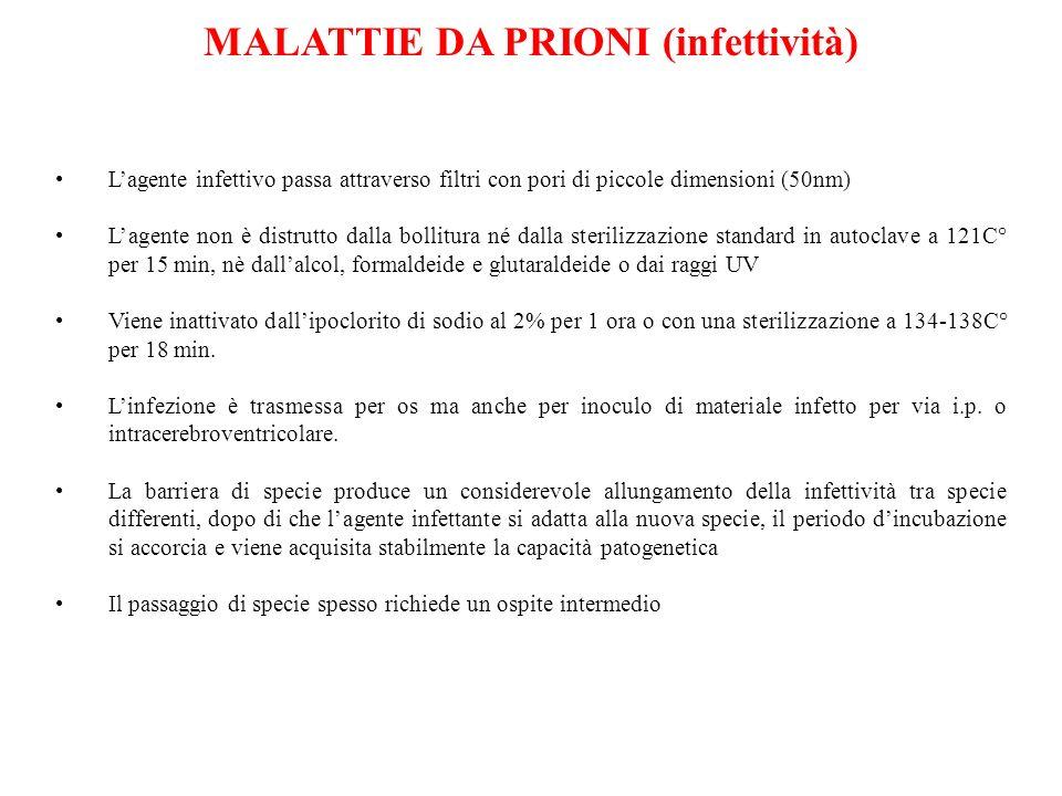 MALATTIE DA PRIONI (infettività)