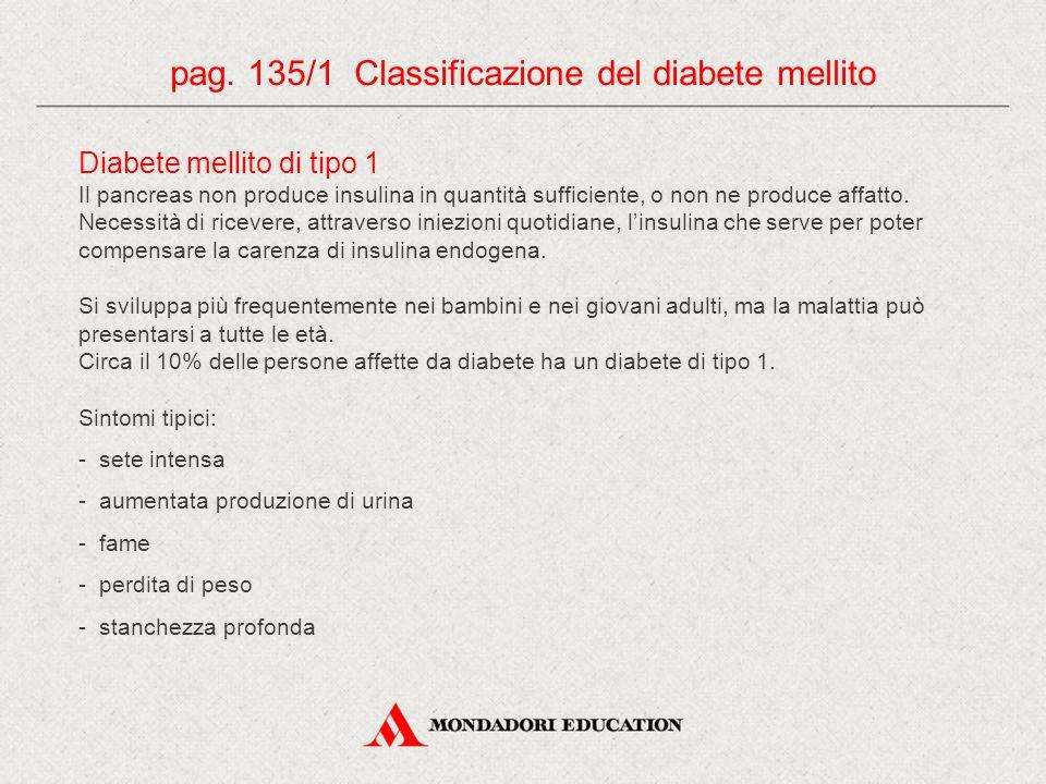 pag. 135/1 Classificazione del diabete mellito