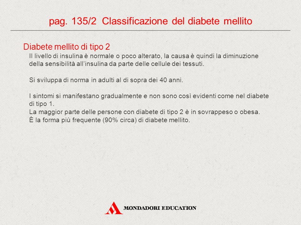 pag. 135/2 Classificazione del diabete mellito