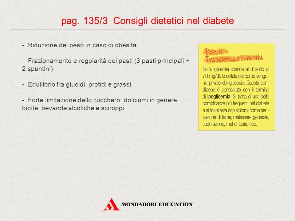 pag. 135/3 Consigli dietetici nel diabete