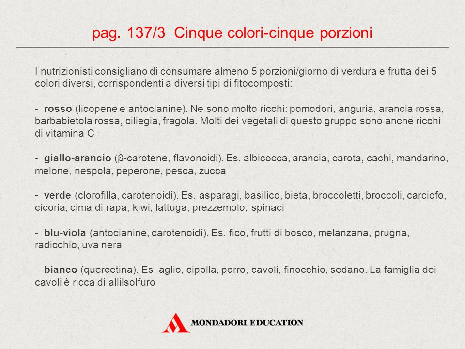 pag. 137/3 Cinque colori-cinque porzioni