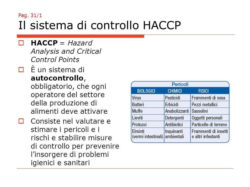 Pag. 31/1 Il sistema di controllo HACCP