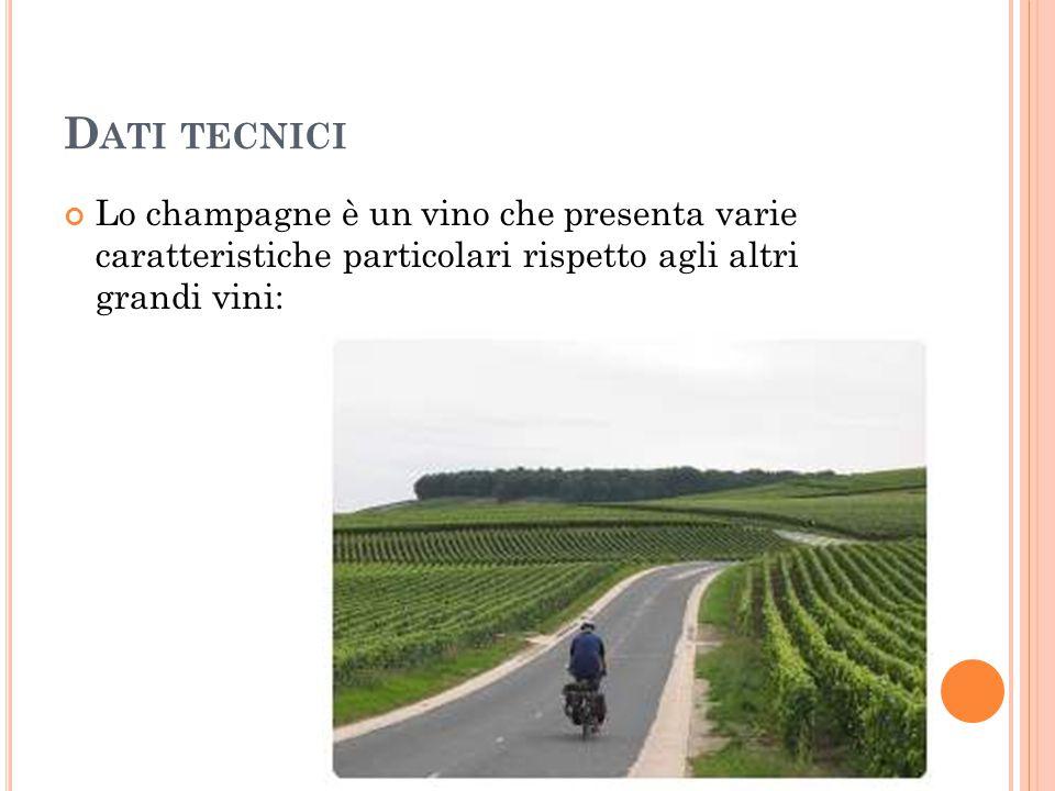 Dati tecnici Lo champagne è un vino che presenta varie caratteristiche particolari rispetto agli altri grandi vini: