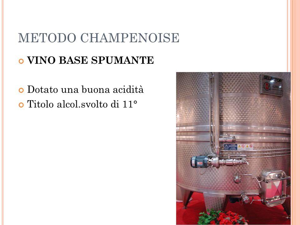 METODO CHAMPENOISE VINO BASE SPUMANTE Dotato una buona acidità