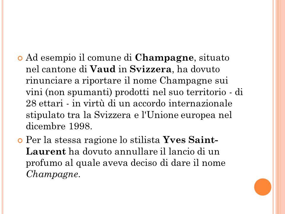 Ad esempio il comune di Champagne, situato nel cantone di Vaud in Svizzera, ha dovuto rinunciare a riportare il nome Champagne sui vini (non spumanti) prodotti nel suo territorio - di 28 ettari - in virtù di un accordo internazionale stipulato tra la Svizzera e l Unione europea nel dicembre 1998.