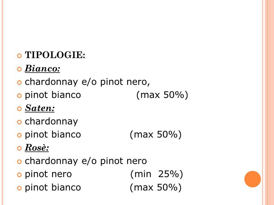 TIPOLOGIE: Bianco: chardonnay e/o pinot nero, pinot bianco (max 50%) Saten: chardonnay.