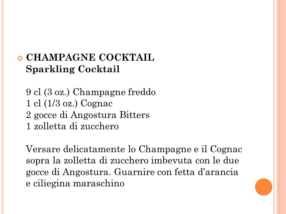 CHAMPAGNE COCKTAIL Sparkling Cocktail 9 cl (3 oz