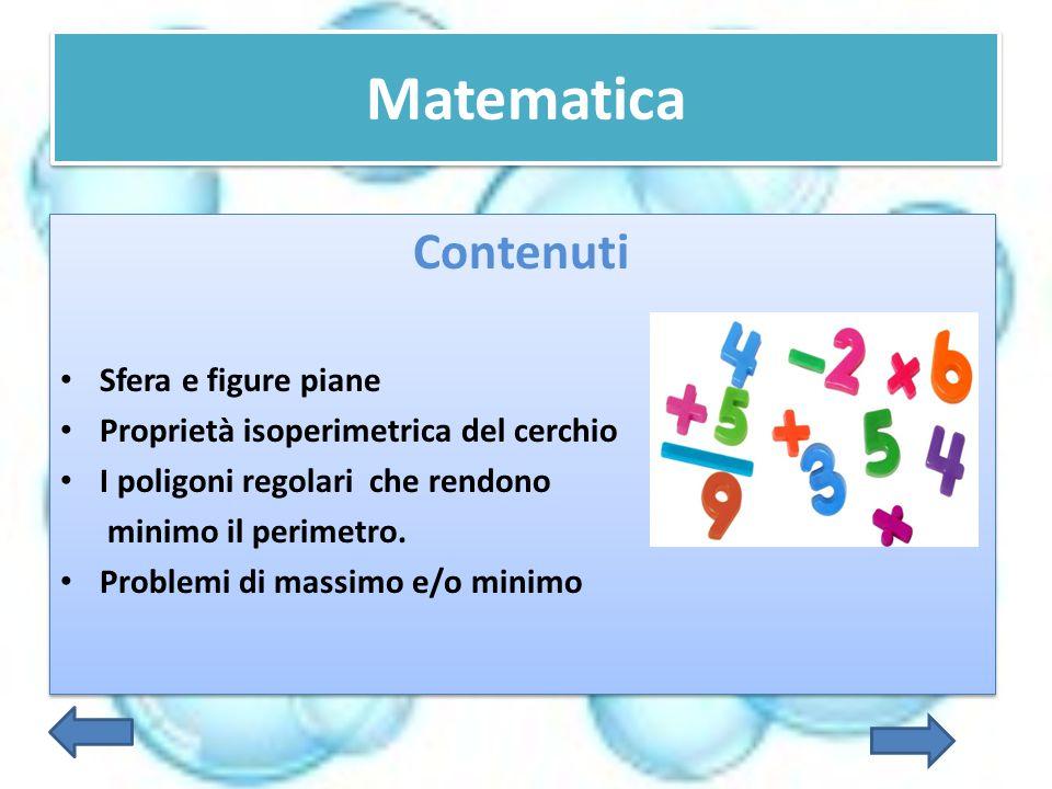 Matematica Contenuti Sfera e figure piane