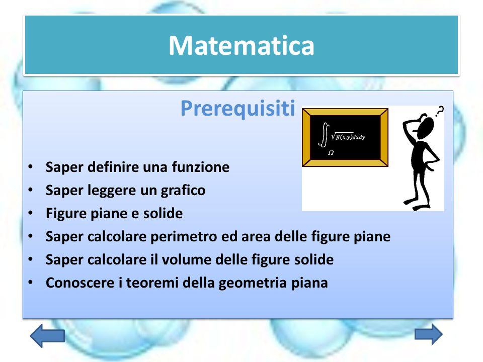 Matematica Prerequisiti Saper definire una funzione