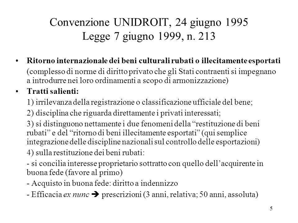 Convenzione UNIDROIT, 24 giugno 1995 Legge 7 giugno 1999, n. 213